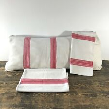Antique red and white striped ticking bolster cushion covers