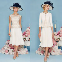 Elegant Mother Of The Bride/Groom Dresses Guest Gowns With Jacket Laced Top 2PCS