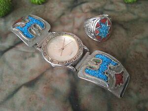 INDIANER Navajo Türkis Armbanduhr+Ring Armband SILBER ?