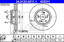 2x Bremsscheibe für Bremsanlage Vorderachse ATE 24.0125-0211.1