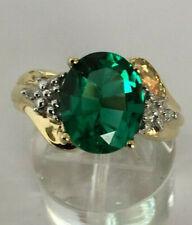10k White Gold Oval Cut GEMSTONE Ring 10 Emerald