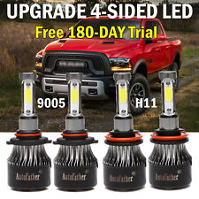 4500W H11 9005 LED Headlight High Low Beam for Dodge Ram 1500 2500 3500 09-2019