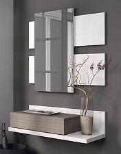 Hogar24.es-Recibidor con cajón +espejo, color Blanco Brillo y Fresno