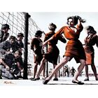 Pulp Fiction Illustration Barbed Wire Soldiers Babe 12X16 Inch Framed Art Print