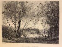 Camille Corot gravure eau forte etching La Moussiere Effet Du Matin ( Chauvel )