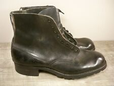 Vintage Wwii Ww2 Swedish Soldiers Combat Trench Hiking Leather Boots Size 10 Us