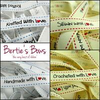 Bertie's Bows 'With Love' Sewing Labels, Handmade, Crocheted, Sewn, Knitted -