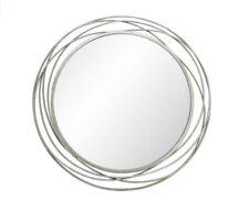 90cm Metal Silver Round Swirl Mirror Large Home Decor Circles Wall Art Decor
