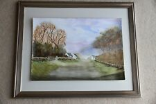 New Approaching the village Country Scene watercolour 42cm x 29cm