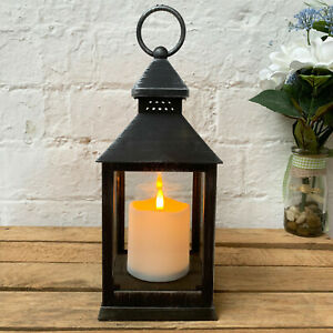 Traditional Black Eternal Battery Powered LED Flame Candle Light Lamp Lantern