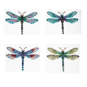 Set Of 4 Wall Hanging Metal Dragonflies Garden Outdoor or Indoor Decor  20x29cm