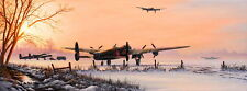 Steve Brown signed print Winters Glow, RAF Bomber Command 97 Squadron Lancasters