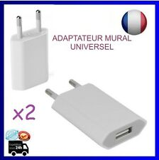 x2 Prise murale extra plate chargeur USB-secteur universel, Blanc