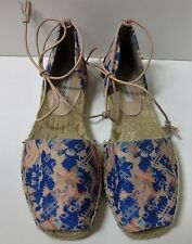 CYNTHIA VINCENT Floral Espadrille Open Toe Ankle Strap Tassels Flats Shoes 6 NEW
