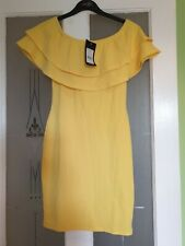Ladies BNWT Yellow Stretch Caped Dress Size 8 By New Look
