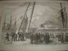 Crimea wounded soldiers from HMS Retribution at Portsmouth 1855 print ref AV