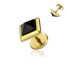 FAKE Plug Piercing Orecchino Oro Bilanciere Cristallo piramide acciaio inox Orecchini a bottone