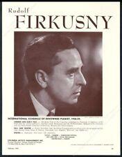 1959 Rudolf Firkusny photo piano recital tour booking trade print ad