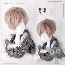 Wig Cospaly Lolita Harajuku Man Short Hari Flaxen Gradient Unisex Hairpiece