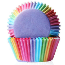 100pcs*Rainbow Color Aluminum Cupcake Cake Cookie Mold Cup Cake Tool Paper~