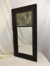 """Tall Antique Hanging Mirror with Renaissance Print in Upper Panel, 39"""" X 19"""""""
