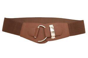 Women Brown Faux Leather Wide Elastic Beauty Fashion Belt Hook Buckle L XL XXL
