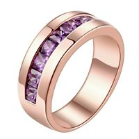 Stunning 18K Rose Gold GP Purple Crystal Solid Wedding Engagement Ring Size 8-10