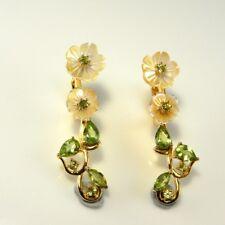 Cameo Long Flower Daisy Peridot Sapphire Earrings Sterling 925 14K Plated Daisy