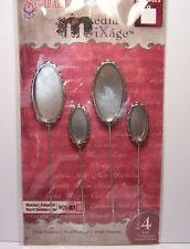 4 Silver Oval Shape Bezels Hatpins Stick Pins fill w/ Ice Resin, Paper, Ephemera