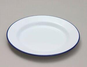 Dinner Plate White Enamel  Pie Baking Roasting Camping Blue Rim BBQ Caravan