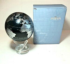 "MOVA Silver Blue Metallic Globe 4.5"" Rotating Motion Spinning Moving Earth"