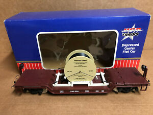 USA TRAINS G SCALE #R17312 C&S DEPRESSED CENTER CAR WITH REEL W/BOX