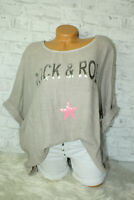 Italy New Collection T-Shirt beige Rock & Roll Oversized Gr. 36 38 40 42 blogger