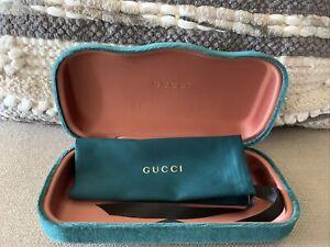 NEW GUCCI CASE GREEN VELVET CLAMSHELL EYEGLASSES WITH DUST BAG '