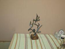 "Vintage Judaica Iron Cut Out Shema Holocaust Brutalist Sculpture 13"" + 3"" stand"