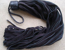 KNOB Leather Flogger Whip BLACK 72 TAILS - Ideal Horse Training Florentine Tool