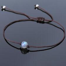 Men's Women Bracelet Braided 5A Rare Labradorite Sterling Silver Beads DIY-K 823