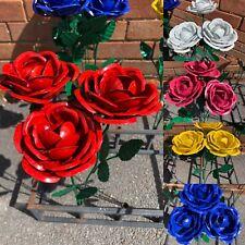 Unique 5 X Different Colour Metal Roses Flower Garden Ornaments