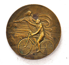 Vintage Cyclotourisme Velocipede Angel w Wheat Bicycle Medal Bronze 42mm Rare