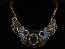 Ethnic ceramic floral Bohemia crystal black bead statement choker necklace N18