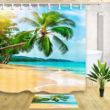 Summer Beach and Palm Trees Bathroom Shower Curtain Waterproof Fabric & 12 Hooks