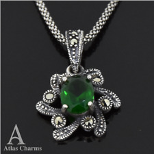 Sets Sterling Silver Emerald Pendant Necklace Birthday Wedding Bridesmaid Gifts