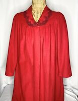 Vintage Shadowline Robe Housecoat Women's Medium Velour Plush Red Lace Collar