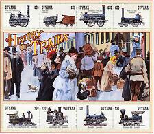 Guyana 1994 MNH Trains 8v M/S III Railways Locomotives Steam Engines Züge Stamps