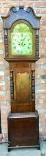 More details for antique inlaid oak & mahogany grandfather longcase clock e. butler great bridge