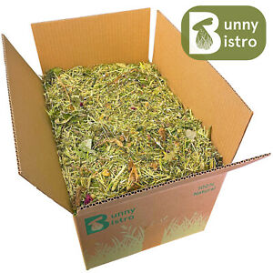Bunny Bistro Flower & Herb Hay Box - Natural Rabbit, Guinea Pig Food Box, Forage