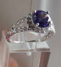 Simulata TANZANITE & Clear Diamonique 1.8 ct Argento Sterling RING SZ-L Nuovo QVC