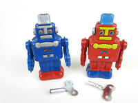 2 Vintage Retro Wind-Up Tin Walking Space ROBOTS Red/Blue MS257A MS257B w/ BOX