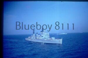 35mm Slide Royal Navy destroyer at sea 1970's