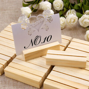 20 Pieces Wooden 7x2.3cm Menu Holders Number Note Photo Holding Card 2mm Slot